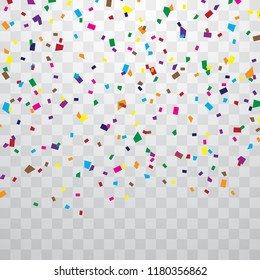 Colorful confetti isolated from the background transparent. Vector Festive Celebration