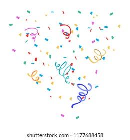 Colorful confetti isolated. Festive vector background