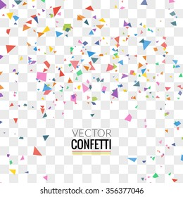 Colorful Confetti isolated on Transparent square Background. Christmas, Birthday, Anniversary Party Concept. Confetti explosion