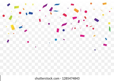 Colorful Confetti On Transparent Background. Celebration & Party. Vector Illustration