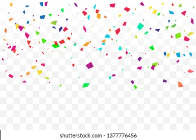 Colorful Confetti On Transparent Background. Celebration & Party. Vector Illustration