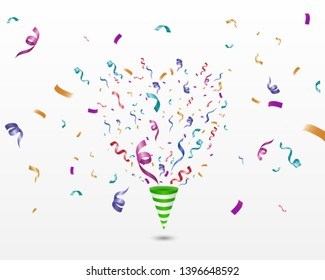 Colorful confetti on a white background. Festive cheerful vector background. Cone with confetti.