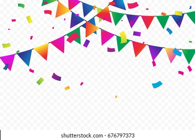 Colorful Confetti And Party Flags On Transparent Background. Birthday & Celebration Event. Multicolored. Vector Illustration