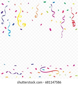Colorful Confetti And Ribbon Falling On Transparent Background. Vector. Celebration & Birthday