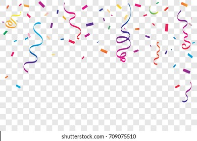 Colorful Confetti And Ribbon Falling On Transparent Background. Celebration Event & Happy Birthday. Vector illustration