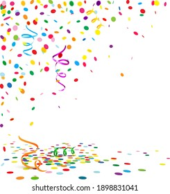colorful confetti scenery with streamers and confetti floor. Background with copy space