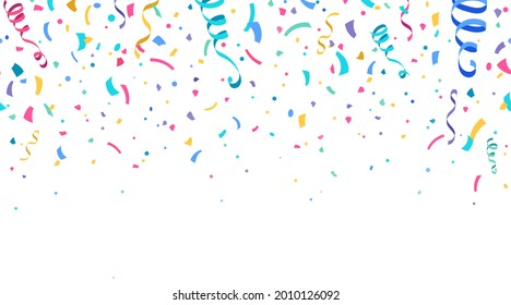 Colorful confetti and serpentine ribbons falling from above. Streamers, tinsel vector seamless frame border background in simple flat cartoon modern style.