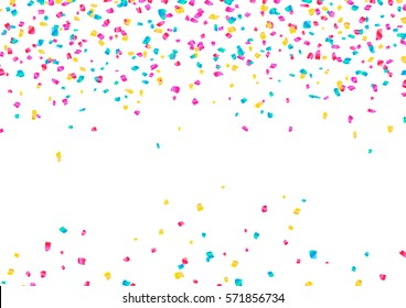 Colorful Confetti and serpentine set, bright colorful background, editable elements, cute and fun decoration. Isolated on white. Vector illustration for celebration, party, carnival, festive holiday..
