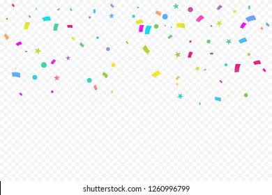 Colorful Confetti Star On Transparent Background. Celebration & Party. Vector Illustration