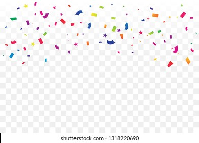 Colorful Confetti Star On Transparent Background. Celebration & Party. Congratulation. Vector Illustration