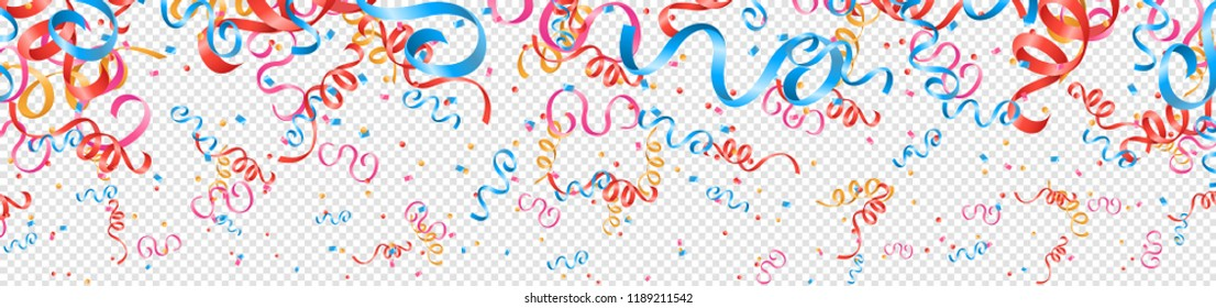 Colorful confetti and streamers party background isolated
