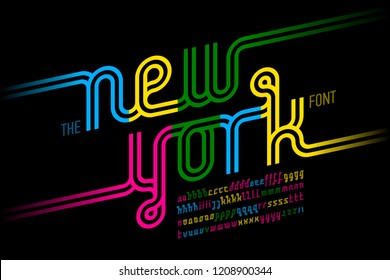 Colorful continuous line font, inline alphabet vector illustration