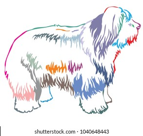 Colorful contour decorative portrait of standing in profile Old English Sheepdog, vector isolated illustration on white background