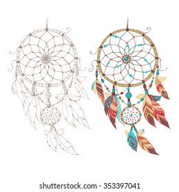 Colorful and contour dreamcatcher.  Flat vector. Isolated.