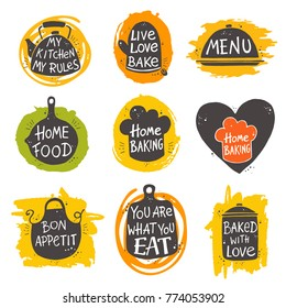 Colorful cooking lettering set. Hand drawn vector illustration. Can be used for badges, labels, logo, bakery, street festival, farmers market, country fair, shop, kitchen classes, cafe, food studio.