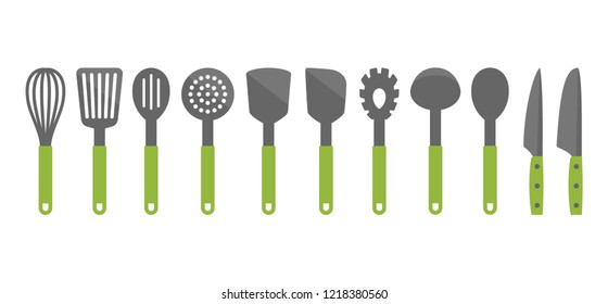 Colorful cooking utensil set of tools. Kitchen tools vector cartoon icons. Slotted turner, spoon, knives, whisk, pasta server icons.