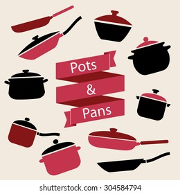 Colorful cookware icon set. Pots and pans vector illustration. Vintage label.