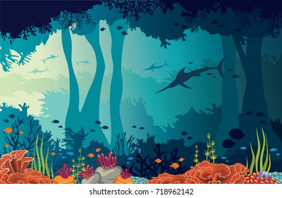 Colorful coral reef, fishes, silhouette of marlins and underwater cave on a blue sea background. Nature vector illustration. Ocean wildlife.