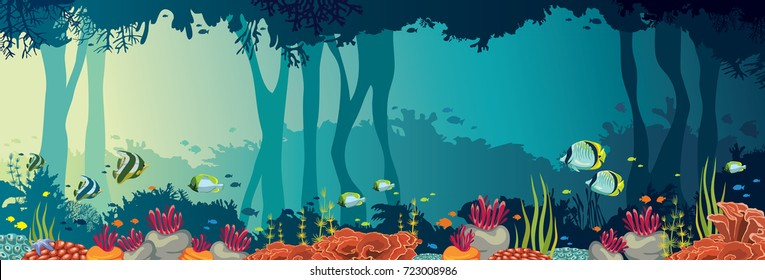 Colorful coral reef with school of fishes and underwater cave on a sea background. Nature panoramic vector illustration. Ocean wildlife.