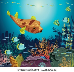 Colorful coral reef with silhouette of fishes and underwater creatures on a blue sea background. Vector seascape illustration. Ocean wildlife.