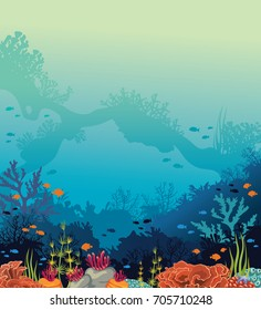 Colorful coral reef with silhouette of fishes and underwater nature arch on a blue sea background. Vector seascape illustration. Ocean wildlife.