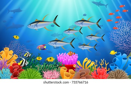 Colorful coral reef with tuna fish and stone arch on a blue sea background. Vector Illustration.