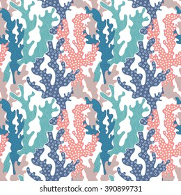 Colorful corals seamless pattern. Vector background