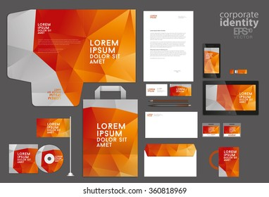 Colorful corporate identity template. Low poly design. Vector il