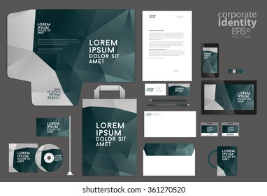 Colorful corporate identity template. Low poly design. Vector illustration.
