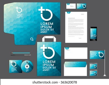 Colorful corporate identity template. Low poly design.Vector illustration.