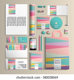 Colorful corporate identity template with stripes creative pattern. Vector company style for brandbook and guideline. EPS 10