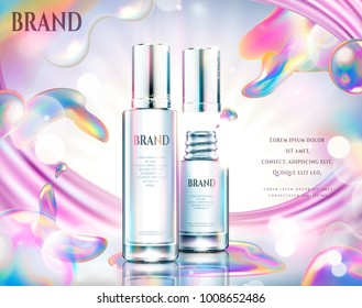 Colorful cosmetic ads, glass bottle with rainbow soap bubbles effect in 3d illustration