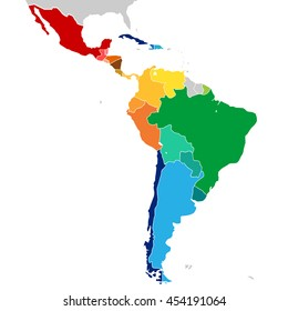 Colorful Countries of Latin America. Simplified vector map with all countries in different colors..