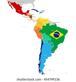 Colorful Countries of Latin America. Simplified vector map with all countries in different colors.