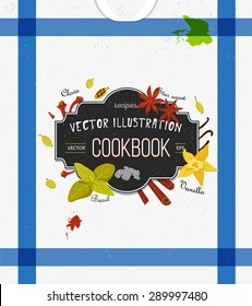 Colorful cover for cookbook, notebook with spices in flat style. Vector kitchen backdrop. Stylized icons. Illustration. Design elements for recipe. Kitchen towel background. Chalkboard effect. eps 10