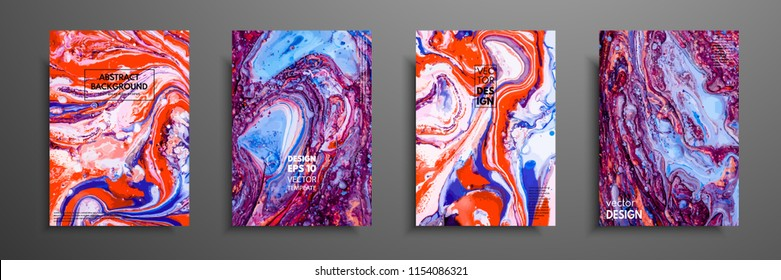 Colorful covers design set with textures. Closeup of the painting. Abstract bright hand painted background, fluid acrylic painting on canvas. Fragment of artwork. Modern art.