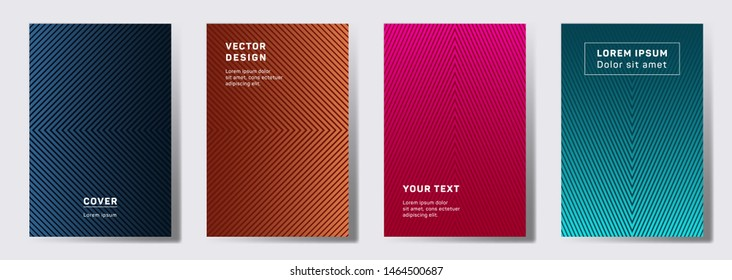 Colorful covers linear design. Geometric lines patterns with edges, angles. Abstract backgrounds for notepads, notice paper covers.