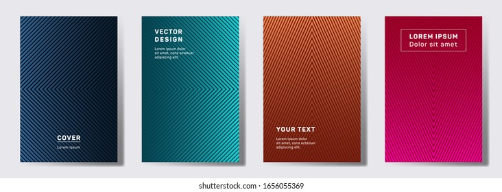 Colorful covers linear design. Geometric lines patterns with edges, angles. Geometric backgrounds for notepads, notice paper covers. Line shapes patterns, header elements. Annual report covers.