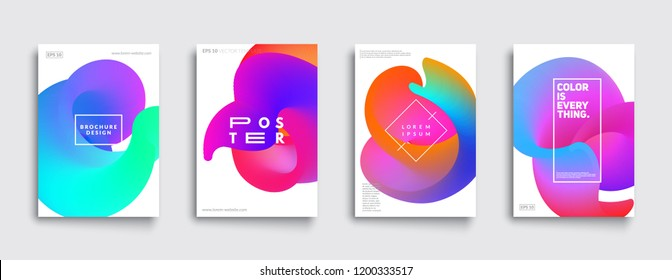 Colorful covers set. Abstract fluid shapes composition. Eps10 vector.