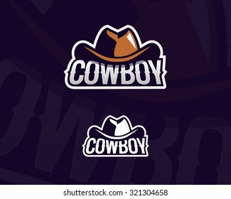 Colorful cowboy hat emblem, label, badge, logo on dark background. Wild West theme. Vector isolated illustration