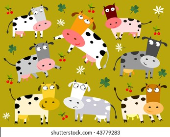 Colorful cows - vector