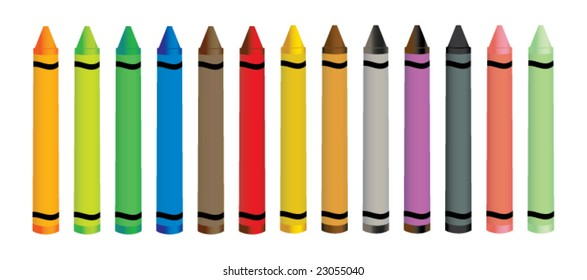 Colorful crayons - vector