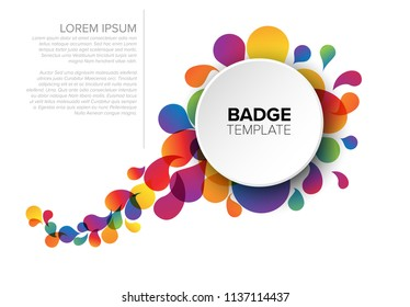 Colorful creative badge / tag template with sample content and fresh background