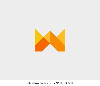 Colorful creative crown flower sign. Universal hand fist mount vector icon. Abstract letter M W logo design template.