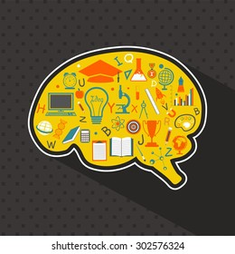 Colorful creative educational elements on brain shape for Back to School concept.