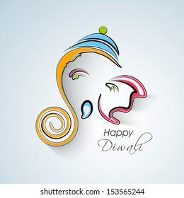 Colorful creative illustration of Hindu mythology Lord Ganesha on occasion of Indian festival Happy Diwali.