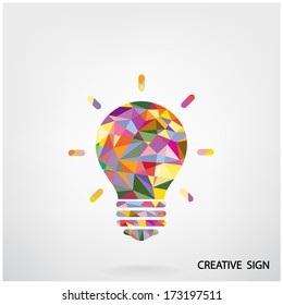 Colorful creative light bulb idea concept background design for poster flyer cover brochure ,business idea ,abstract background.vector illustration