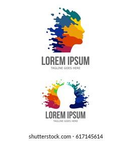 Colorful Creative Man Head Logo / Mind Splash Paint Vector / Brain Logo