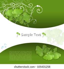 Colorful creative modern abstract nature 3d vector banner set with green ginkgo biloba  leaves pattern