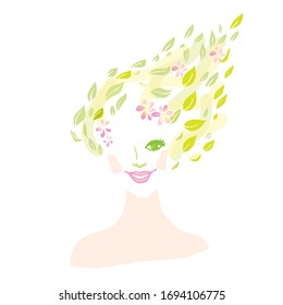 Colorful creative portrait of beautiful girl with hair from leaves and flowers on white background. Forest Nymph. Beauty, fashion, eco concept. Hand drawing. Vector isolated.